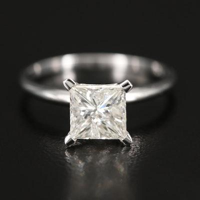 14K 1.67 CT Princess Cut Diamond Solitaire Ring