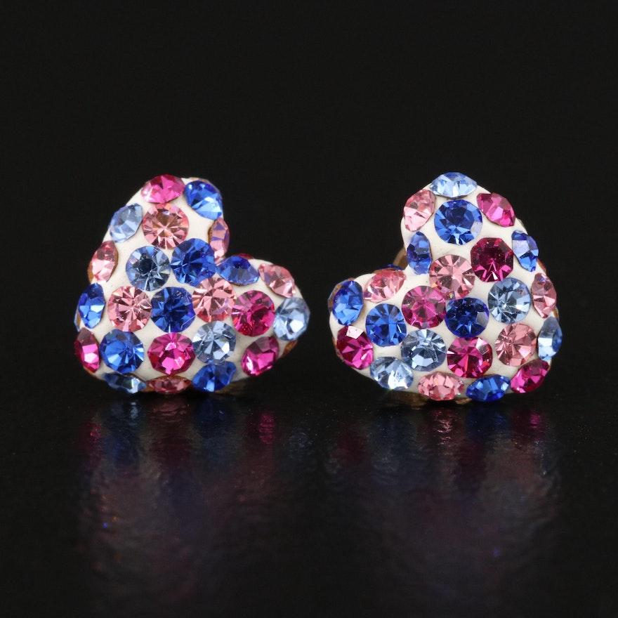 14K Multicolored Heart Stud Earrings