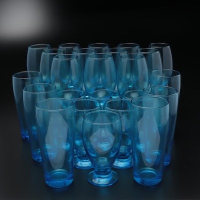 Blue Glass Beer and Cocktail Glasses with Stemware, Late 20th Century