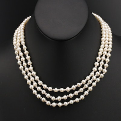 Sterling Triple Strand Pearl Necklace