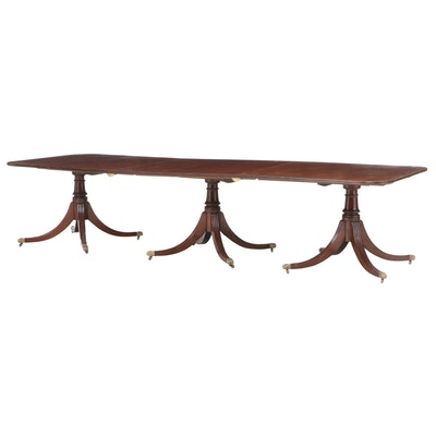 George III Style Triple-Pedestal Mahogany Dining Table