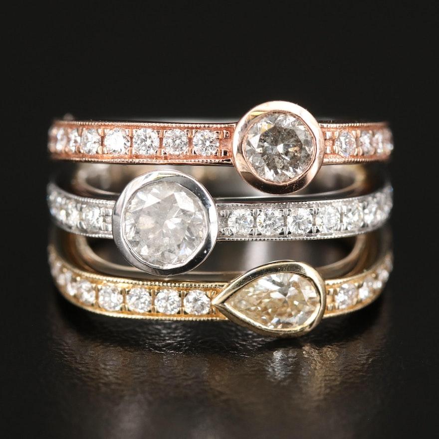 14K Tri-Color Gold 2.38 CTW Diamond Ring