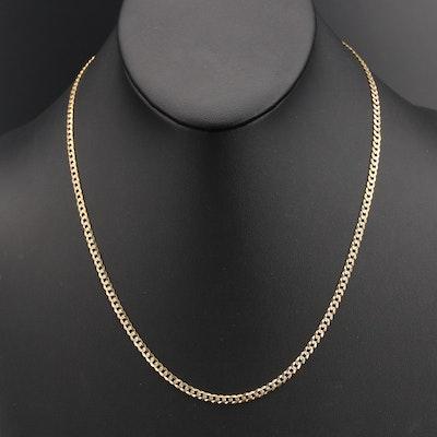 14K Diamond Cut Curb Link Chain