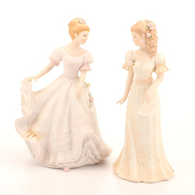 """Masterpiece Porcelain by Homco """"Lady Caroline"""" and """"Victoria"""" Figurines"""