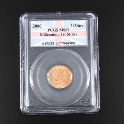 PCGS Graded MS67 Low Mintage 1st Strike 2000 Gold 1/2 Sovereign, 4th Portrait