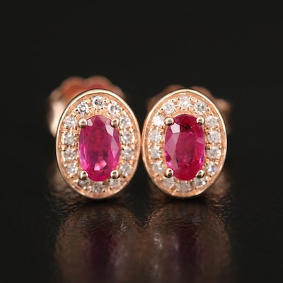 14K ROSE GOLD DIAMOND, NATURAL MOZAMBIQUE RUBY EARRINGS