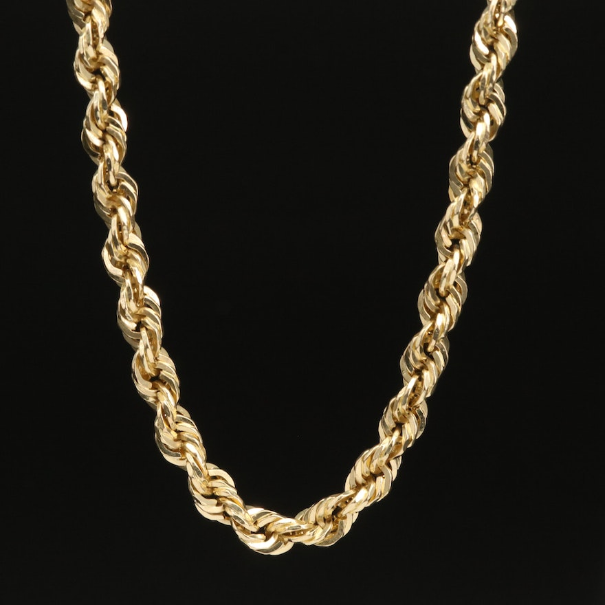 10K French Rope Chain Necklace