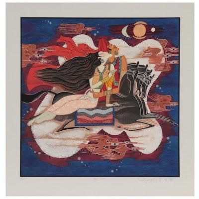"""Qin Yuan Yue Serigraph """"Magic Carpet,"""" Circa 1990"""