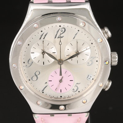 Swatch Irony Time In Rose Chrono Stainless Steel Wristwatch