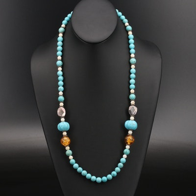 Sterling Magnesite, Coral and Gemstone Beaded Necklace