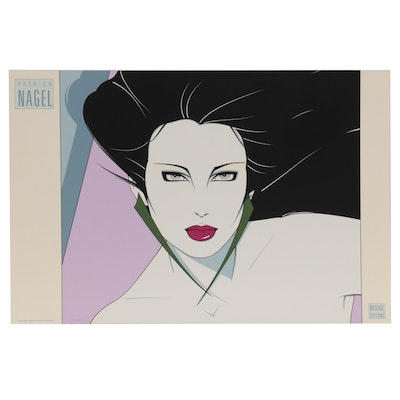 """Serigraph After Patrick Nagel """"Green Earrings,"""" 1988"""