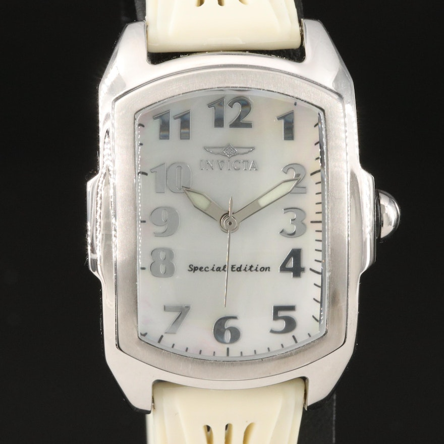 Invicta Lupah Mother of Pearl Dial Stainless Steel Quartz Wristwatch