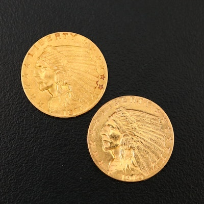 1910 and 1911 Indian Head $2.50 Quarter Eagle Gold Coins