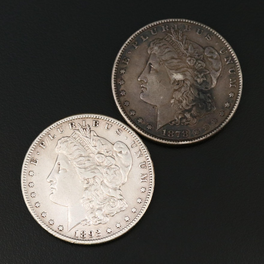 """Better Dates 1878 """"8 Tail Feather"""" Variety and 1892-S Morgan Silver Dollars"""