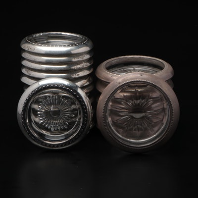 Silver Plate Rimmed Glass Coasters, Mid to Late 20th Century