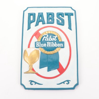 Ceramic Pabst Blue Ribbon Sign with Hanger