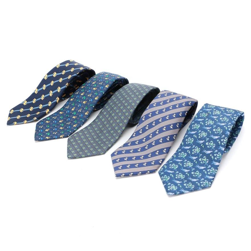 Hermès Hand-Stitched Patterned Silk Twill Neckties