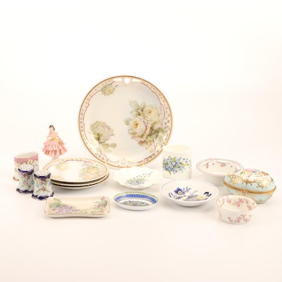 French Hand-Painted Egg Shaped Box with Other Porcelain Tableware