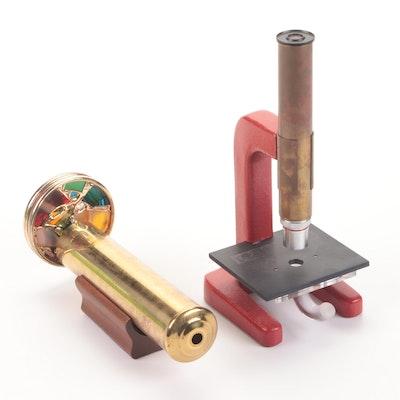 Borck Optical Magiscope with Lumarod and Artisan-Made Brass Kaleidoscope