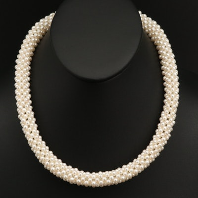 Woven Pearl Tube Necklace with Sterling Silver Clasp