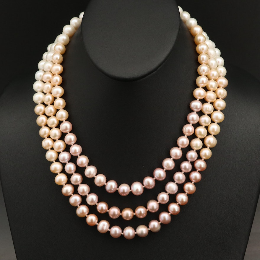 Triple Strand Pearl Necklace with Sterling Silver Topaz Clasp