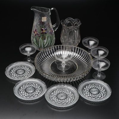 Fifth Avenue Crystal Crackle Glass Pitcher, with Other Pressed Glass Tableware