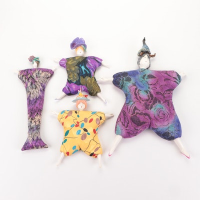 Contemporary Artisan-Crafted Bean Bag and Porcelain Dolls
