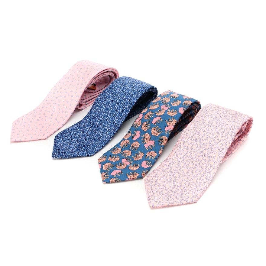 Hermès and Salvatore Ferragamo Hand-Stitched Neckties in Patterned Silk