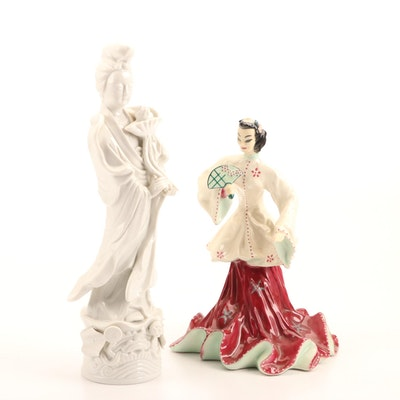"""Goldcrest Ceramics """"Chinese Girl with Fan"""" and Toyo Figurine of Kannon"""
