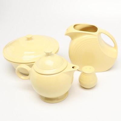 "Homer Laughlin ""Fiesta"" Teapot, Pitcher, Bowl with Lid, and Salt Shaker"