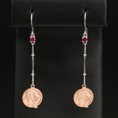 EFFY 14K WHITE & ROSE GOLD NATURAL RUBY EARRINGS