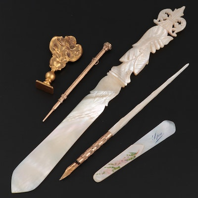 John Holland No. 4 Mother-of-Pearl and Brass Pen, Other Paper Knives, and More