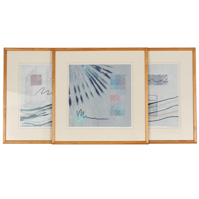 Syd Kramer Non-Objective Abstract Monotypes, Late 20th Century
