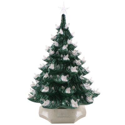Illuminated Ceramic Christmas Tree with Base, Late 20th Century