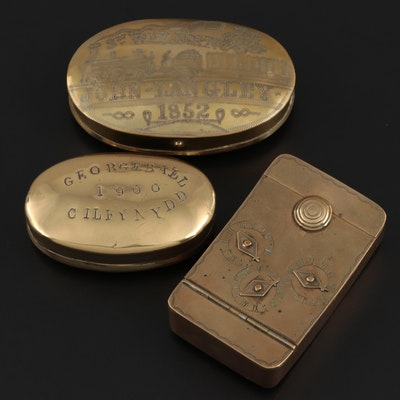 Brass Combination Puzzle Snuff Box with Other Brass Snuff Boxes, Mid-Late 19th C
