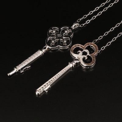 Sterling Diamond Key Pendant Necklaces