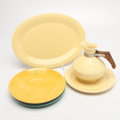 Bauer Ceramic Plates, JCP Serving Platter, and Carafe