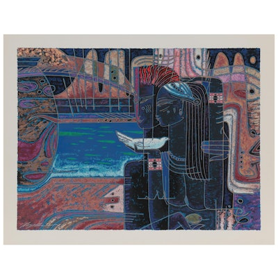 """Adrian Wong Shue Serigraph """"Promises,"""" Late 20th Century"""