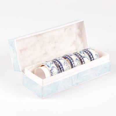 Blue and White Plastic Napkin Ring Set in Presentation Box, Contemporary