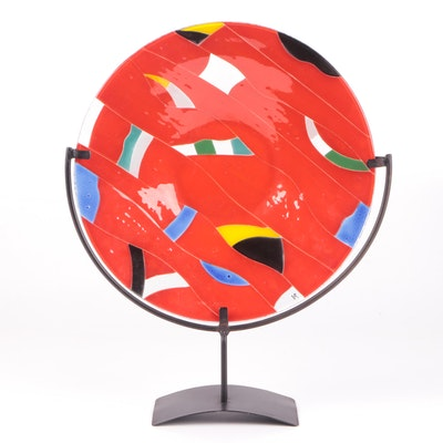 Decorative Glazed Glass Plate with Metal Stand