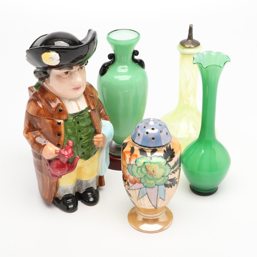 Victorian Barber Opalescent Glass Bottle, Jade and Black Glass Vases and More