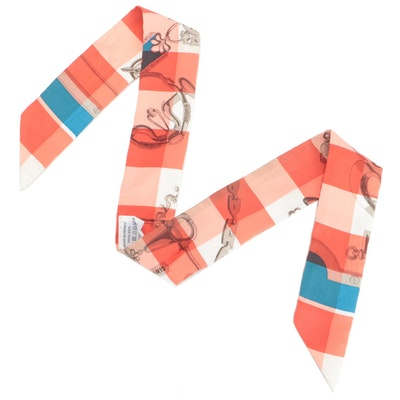 Hermès Bridle and Check Patterned Silk Twilly Scarf with Box