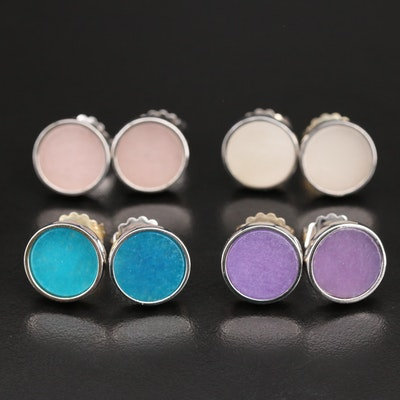 Sterling Bezel Set Quartzite Button Stud Earrings