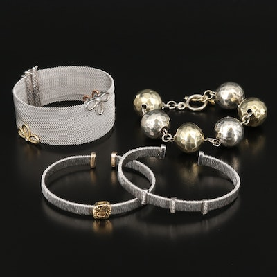 Sterling Hammered Station, Wire and Mesh Bracelets