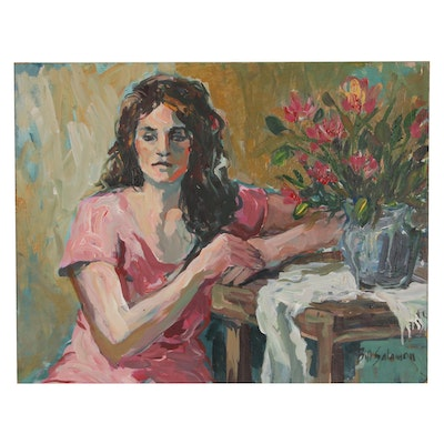 Bill Salamon Acrylic Painting of Figure with Flowers, Late 20th Century