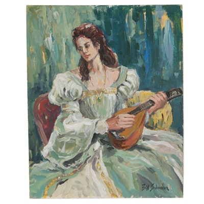 Bill Salamon Acrylic Painting of Lute Player, Late 20th Century