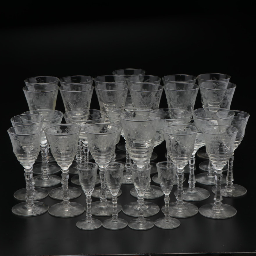 Etched Glass Water, Wine, and Cordial Glasses with Floral Motif, Mid-20th C.