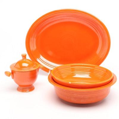 Homer Laughlin Fiesta Ware Orange Platter, Bowls, and Sugar Bowl