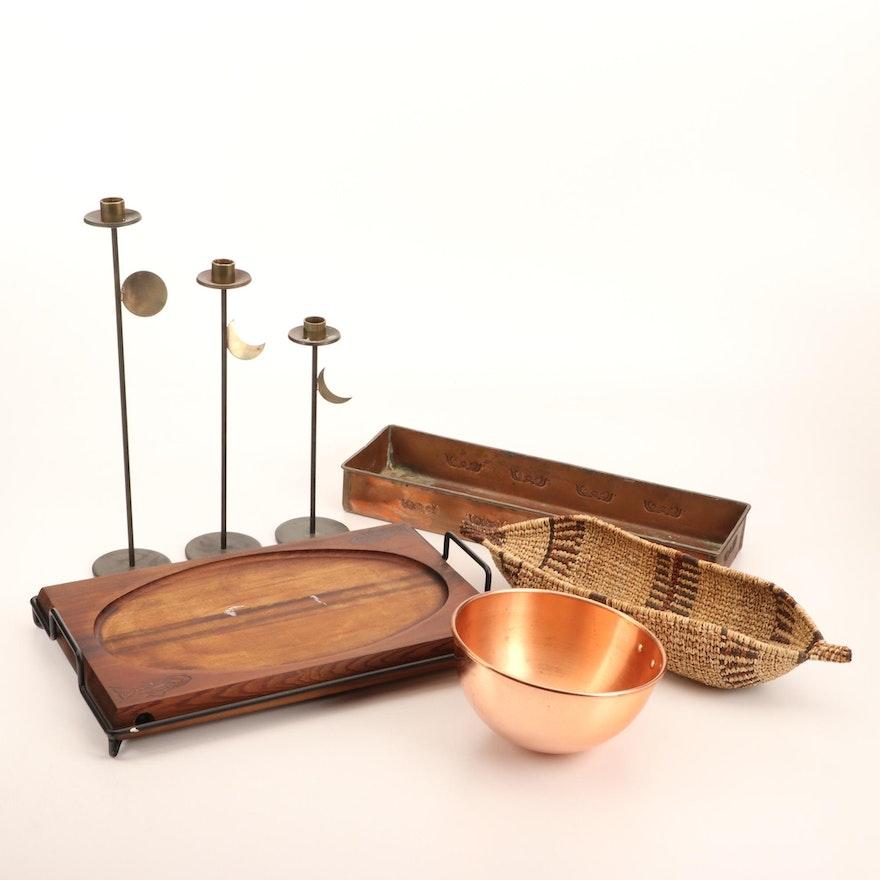 Copper Windowsill Tray, Bowl, Wooden Fish Cutting Board, Moon Candlesticks