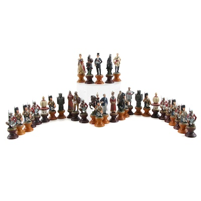 """Franklin Mint """"Raj"""" Chess Set, Colonial British and Indian Army"""